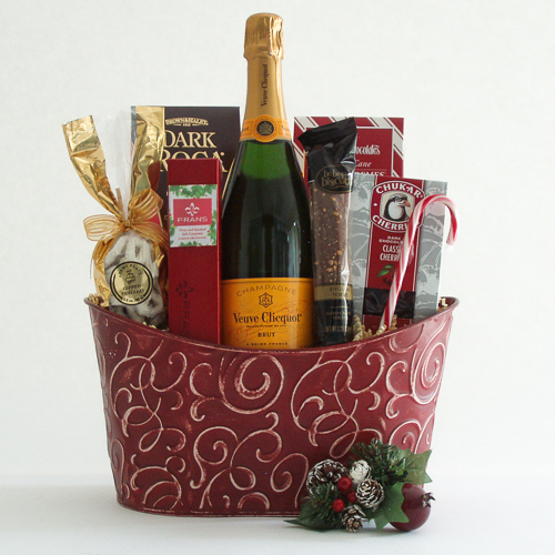 X. Cheers and Chocolates Champagne Holiday Gift Basket with Veuve Clicquot French Champagne