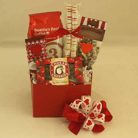 #V3 Cupid�s Coffee and Valentine�s Chocolates Gift Basket with Seattle�s Best Coffee or Starbuck�s Coffee
