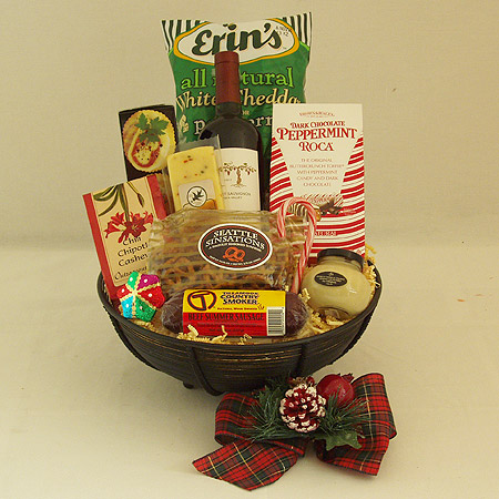 Holiday #W Holiday Northwest Gourmet Wine, Beef Summer Sausage and Cheese Gift Basket