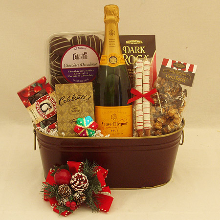 Holiday #Y Holiday Cheer with Vve. Cliquot Champagne and Chocolates Gift Basket