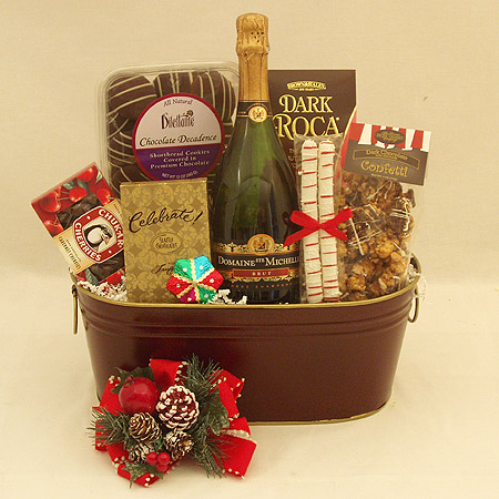 Holiday #Z Holiday Cheer with Ste. Michelle Sparkling Brut and Chocolates Gift Basket