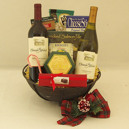 Holiday #BB Good Tidings Gourmet Food, Red and White Wine Gift Basket