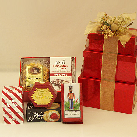 Holiday #GG Holiday Greetings Nuts, Cheese, Cookies & Chocolate Gift Tower